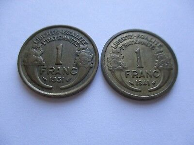 "Coins France 1931 1941 Antiques ""1"" Franc French Coin Set Of 2 Souvenirs  #965"