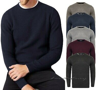 Mens Wool Blend Kensington EX STORES Soft Knit Long Sleeve Crew Neck Jumper Top.