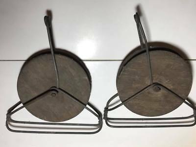Pair of Vintage Wood / Metal Wire Pulleys