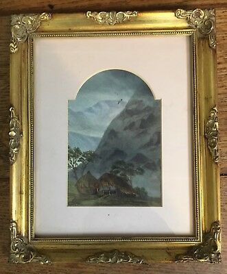 Large Antique Victorian Watercolour Painting In Gold Gilt Frame, Africa