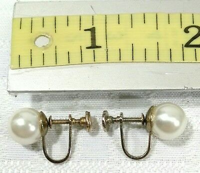 Screw back earrings pearl costume jewelry non pierced clip on Collectible
