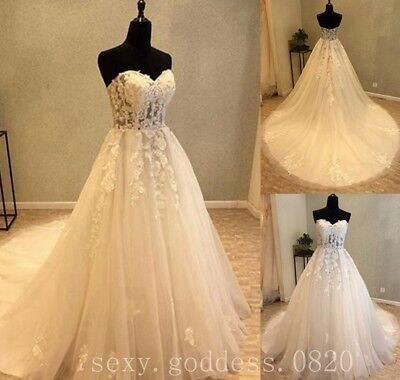 Strapless Bohemian Beach Wedding Dresses Lace Appliques Boho Bridal Gowns Custom