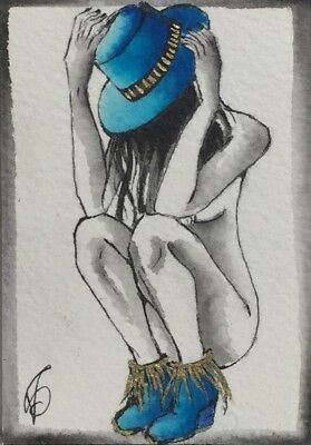 Original ACEO painting. Nacked girl with blue hat and shoes by Viviana Scala