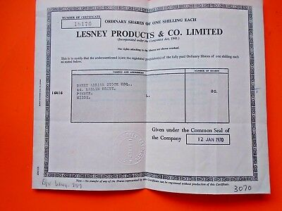 "Lesney Products (""matchbox"") Original Share Certificate 1970 Vgc Models/toys"