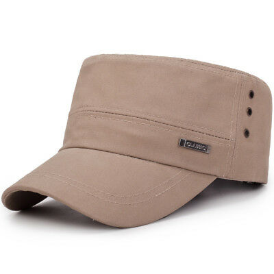 Middle-Aged Mens Cotton Military Hats Outdoor Leisure Adjustable Flat Top Cap