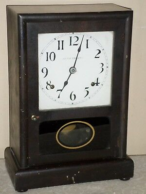 Rare Antique Working Seth Thomas Usa Wood & Glass Chiming Mantel Clock!
