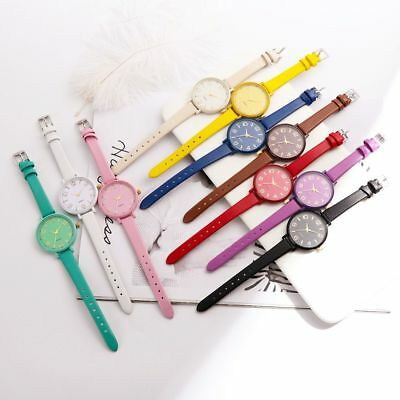 Color Lady Checkers Round Dial Analog Quartz Wrist Watch Thin Faux Leather