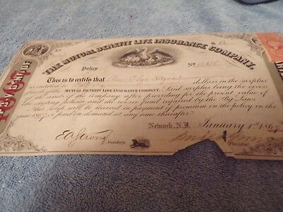 Mutual Benefit Life Insurance Dividend from 1867