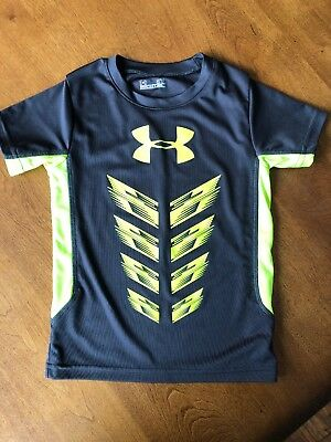 UNDER ARMOUR Boys Grey Neon Yellow Short Sleeve Shirt Size 3T