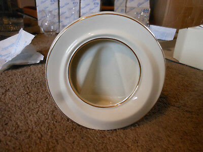 Lenox Round Ivory China Picture Frame With Box, Gold Trim
