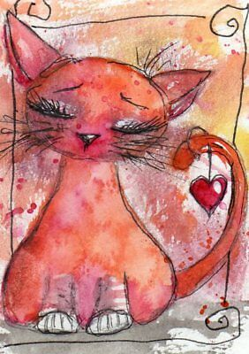 ACEO Original Painting Cat Love illustration Heart Whimsical Art by FAiRyPiGGleS