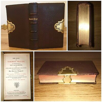 1872 Old Antique Bible Oxford Leather Clasp Book Of Common Prayer
