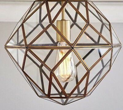 NEW Pottery Barn Kids Glass & Metal Cage Flushmount GOLD
