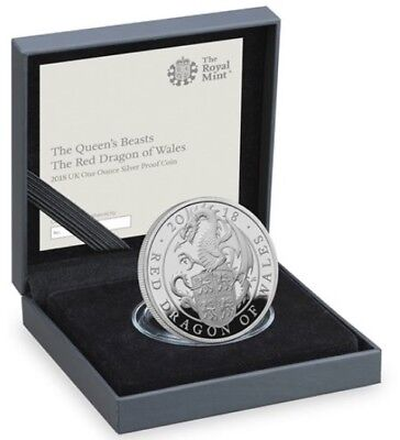 2 Pfund PP 2018 Großbritannien Silber - Queen's Beasts - The Red Dragon of Wales
