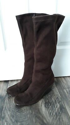 4cd83e6898b6 Aerosoles Gather Round Brown Suede Leather Wedge Knee High Boots Sz 8