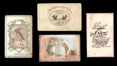 C81 - FOUR SMALL EARLY GOODALL VICTORIAN XMAS CARDS - GHOST, OWL, ROBINS etc.