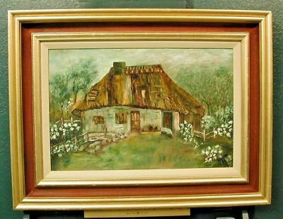 Signed Ansel** Thatched Roof Cottage painting Farm House oil on canvas board