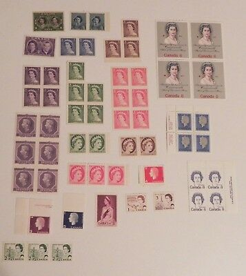 Collection of 57 Vintage Canada unused Gummed stamps NH Queen Elizabeth Variety