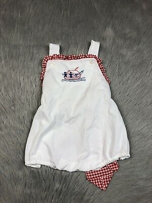 Vintage Cherubs Baby Girls Red White Gingham Bow Back Sunsuit Romper Noah's Ark