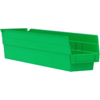 "Akro-Mils 30128 Plastic Shelf Bin Nestable - 4-1/8""W x 17-7/8""D x 4""H Green, Lot"
