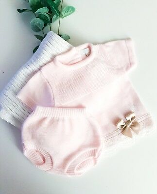 e06623271 ZIP ZAP TRADITIONAL Spanish Baby Girls Knitted Pink Top   Jam Pants ...