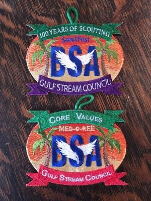 Lot of 2 Boy Scouts Patches ScoutFest Gulf Stream Council Florida