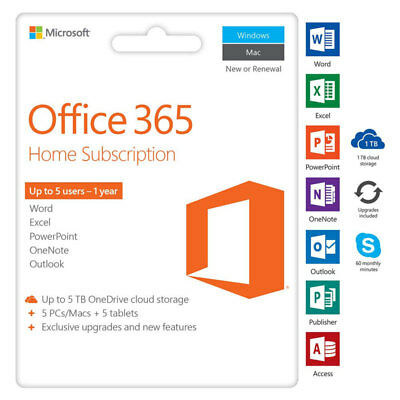 Microsoft Office 365 Home 1 Year Subscription for 5pc (DIGITAL KEY + FAST SHIP)