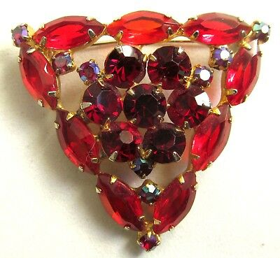 Vintage Large Triangle Brooch Decorated With Dark And Light Red Rhinestones.