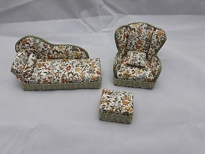 12th scale doll house furniture Floral Chaise Longue, Chair, Footstool & Cushion