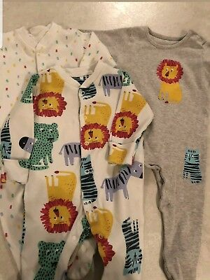 3x Marks and Spencer Baby Sleepsuits 3-6 Months