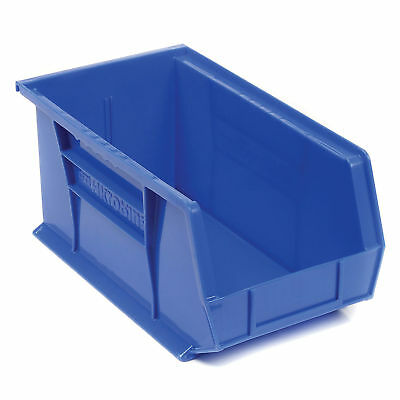 "Akro-Mils Plastic Stacking Bin, 8-1/4""W x 14-3/4""D x 7""H, Blue, Lot of 12"
