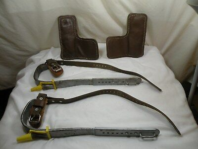 Vintage Buckingham Adjustable Climbing Spikes,Spurs, Gaffs, Hooks, L/R, F, 14""