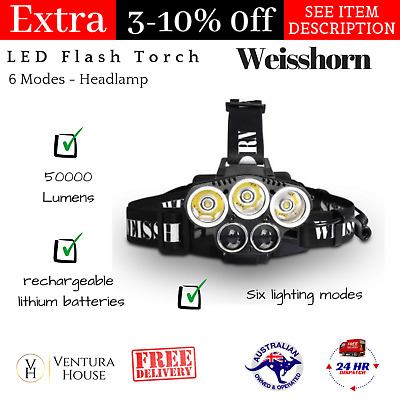 Weisshorn 50000LM LED Flash Torch Headlamp 6 Modes Camping Essentials Headlight