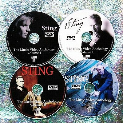 Pin & FREE STING Music Video Collection 1986-2017 4 DVD Set 6.5 Hrs 80 VIDEOS