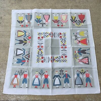"""Sweden Provinces Flowers Tablecloth 34""""/86cm small square Swedish men women red"""
