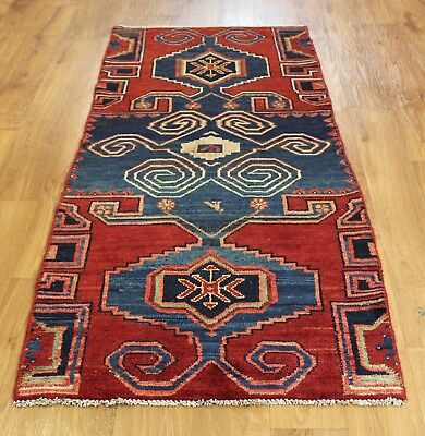 Old Wool Hand Made  Oriental Floral Runner Area Persian Rug Carpet 175 X 77 Cm
