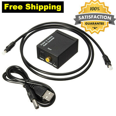 Digital Optical Coax to Analogue Audio Converter Coaxial Toslink L/R RCA Adapter