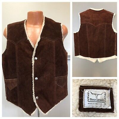 Vintage XL Steer Brand Leather Vest Sherpa Lined Suede Made In Mexico