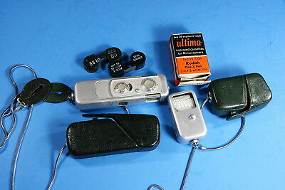 Vintage Minox Miniature Camera & Exposure Meter, Film, Leather Cases And Chains