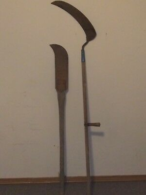SCYTHE LOT OF 3 Primitive antique hand tools Farm garden weed