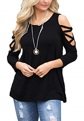 db5710ed677 BLUETIME Women's Cold Shoulder 3/4 Sleeve Stretch T Shirt Casual Blouse Tops  S