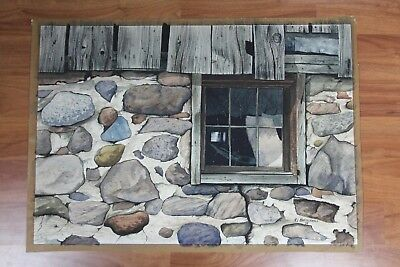Vintage 1977 Original Watercolor Painting Weathered Barn WI Artist M Kratochwill