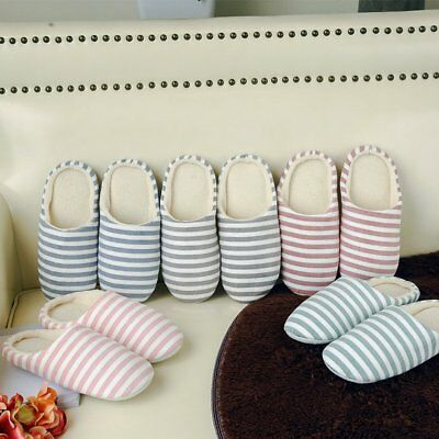 Striped Indoor Cotton Slippers Anti-slip Winter House Shoes Soft Bottom AZ