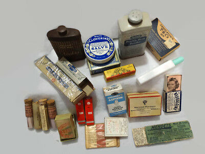 Vintage Medical Supplies Salve Prickley Powder PH Paper LOT