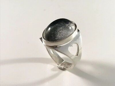 Swedish vintage sterling silver ring cabochon Rock Crystal with hearts, 9 or R
