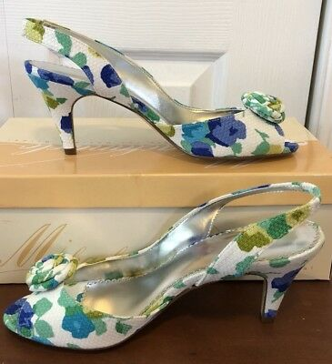 Michelangelo David's Bridal Shoes Happy 7M  High Heels Blue Green, Leather Sole