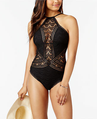 39cca2fa7677c RALPH LAUREN BLACK crochet Ottoman Boat neck one piece swimsuit size ...