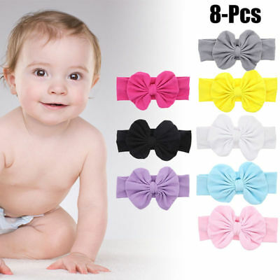 8PCS Baby Girl Toddler Hairband Cute Bowknot Headband Infant Headwrap