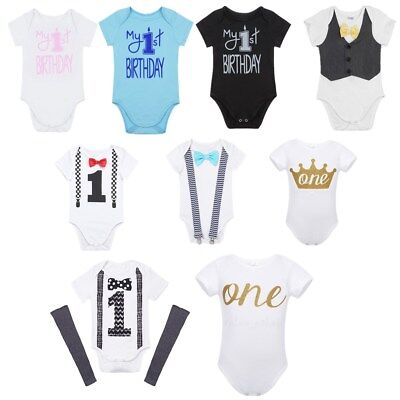 Newborn Baby Boys 1st First Birthday Romper Cotton Party Bodysuit Clothes Outfit
