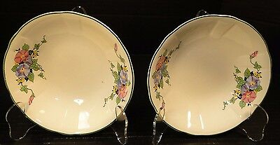 Knowles Taylor & Knowles Cereal Bowls Floral Green Trim Vintage TWO